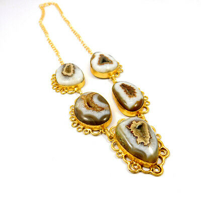 Window Druzy Agate Gold Plated Necklace Fashion Jewelry Festival Gift A1017