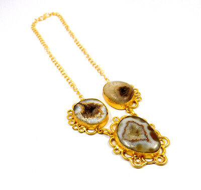 Window Druzy Agate Gold Plated Necklace Fashion Jewelry Festival Gift A1015