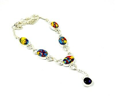 Rainbow Calsilica Stone Necklace Silver Plated Bohemian Fashion Gift KD97