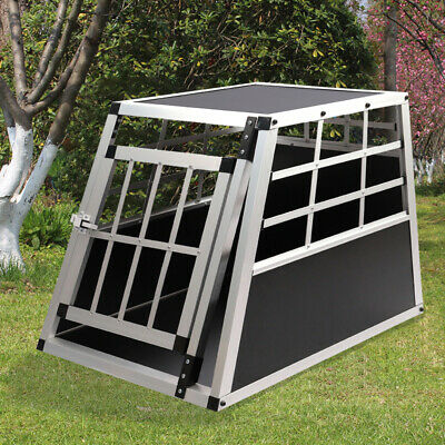 Pet Dog Puppy Aluminium Carrier Box Vehicle Transport Crate Cage Kennel Lockable