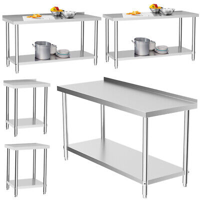 Stainless Steel Catering Table Kitchen Worktop Commercial 2/3/4/5/6FT Bench Top