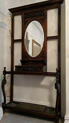 Edwardian Vintage Hall Coat And Hat Stand With Mirror