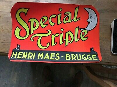 Special Triple reclame beer sign karton not new Henri Maes Brugge