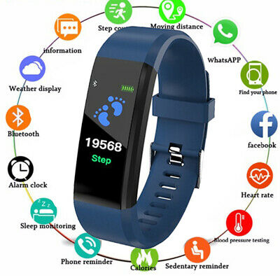 Fitness Smart Watch Activity Tracker Women Men Fitbit for Android iOS Heart Blue