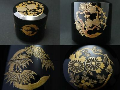 Japanese Lacquer Wooden Tea caddy FLOWER in a Circle makie Fubuki-Natsume (809)