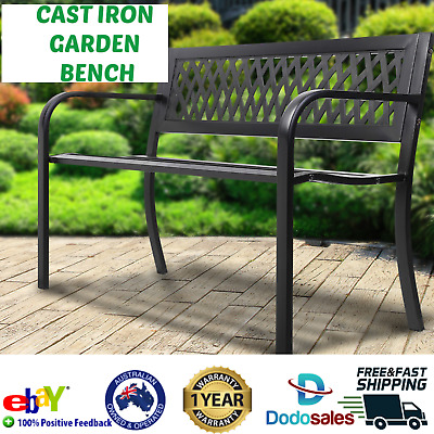 Outdoor Patio Bench 2 Seater Rustic Vintage Park Seat Cast Iron Seating Chair