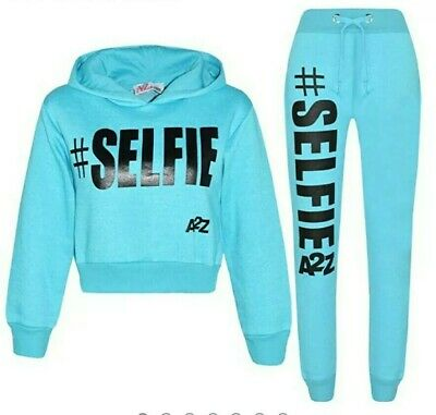 Kids Girls Tracksuit Designer's #Selfie Print Fleece Aqua Hooded Crop Top Bottom
