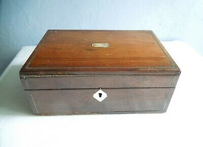 Antique Rosewood Sewing Box c 1880, MOP & Brass Stringing For Restoration