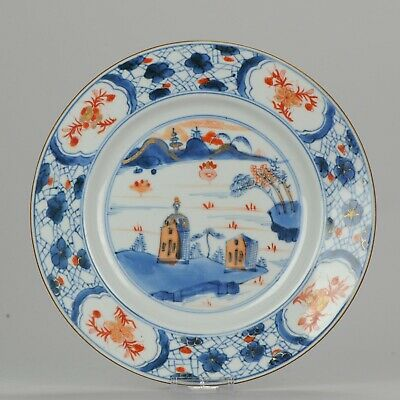 Antique Kangxi Imari Plate with European Structures Chinese Porcelain ca...