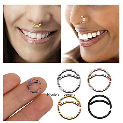 316L Surgical Steel Moon Nose Lip Ear Ring Sleeper Twist Open Hoop Piercing