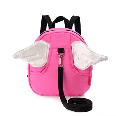 Toddler Harness with Backpack Walking Safety Reins Child Pink with White Wings