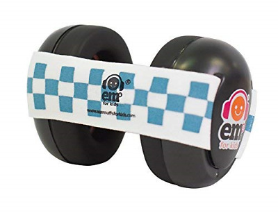 Ems for Kids Baby Ear Defenders - Black with Blue/White. The Original Baby Now