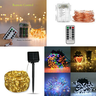 LED Fairy String Lights Battery Solar Powered Copper Wire Outdoor 50/100/200 LED