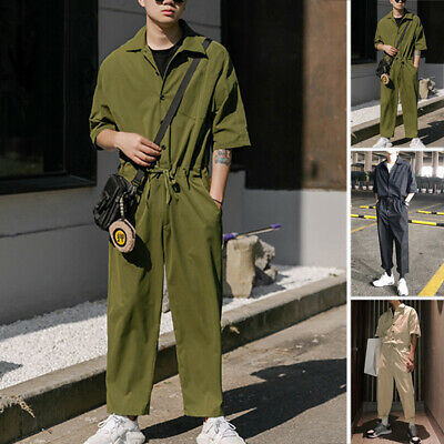 Mens Womens Short Sleeves Jumpsuits Rompers Overalls Cargo Pants Trousers Slacks