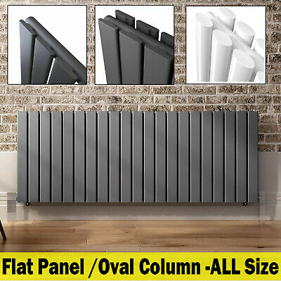 Horizontal Flat Panel Oval Column Radiator Central Heating Anthracite White Home