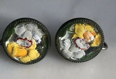 """VINTAGE ESTATE Yellow FLOWER IN LUCITE Acrylic 1/2"""" Screw-on EARRINGS!!!"""