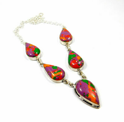 Rainbow Calsilica Stone Necklace Silver Plated Bohemian Fashion Gift KD66