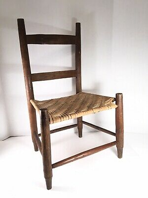 """VTG Solid Wood Childs Chair Woven Seat children's 24.5"""" Farmhouse Rustic"""