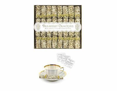 8 Mini Luxury Breakfast Afternoon Tea Saucer Christmas Crackers Gold Family Gift