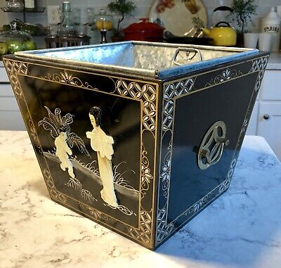 "Black Laquer Chinese Planter Box 12"" X 12"" Wide & 10"" Tall Metal Insert"