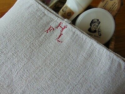 Antique French Rustic Handwoven Farmhouse Linen Red Hfl Monogram Towel/Runner