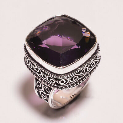 Amethyst Quartz .925 Silver Plated Carving Ring Size-9.25 Jewelry JA687