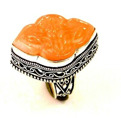 Charming Chalcedony Silver Carving Jewelry Ring Size 8.50 JC1674