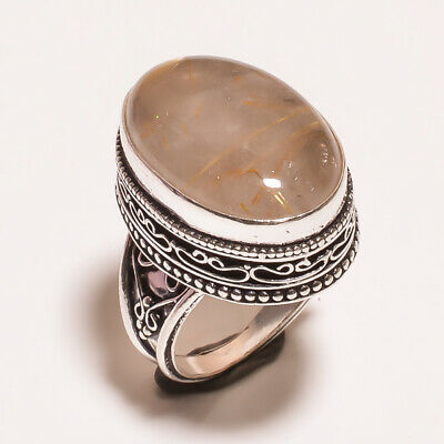 Golden Needle Rutile .925 Silver Plated Carving Ring Size-7.50 Jewelry JA753