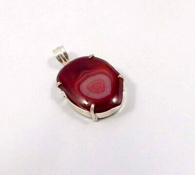 Red Botswana Slice Agate .925 Silver Plated Handmade Pendant Jewelry JC6809