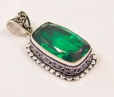 Emerald Quartz .925 Silver Plated Carving Pendant Jewelry JC6687