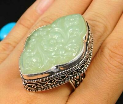 Charming Chalcedony Silver Carving Jewelry Ring Size 9.25 JC1684
