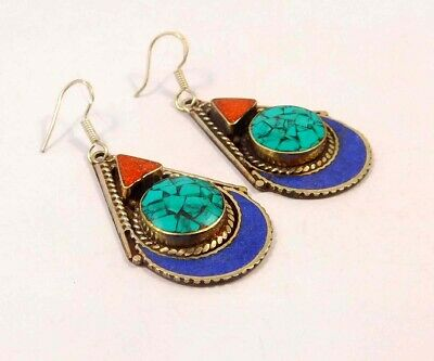 Turquoise , Lapis & Coral .925 Silver Plated Handmade Earring Jewelry JC6615