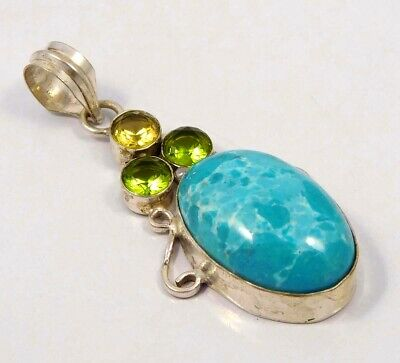 Heated Larimar .925 Silver Plated Handmade Pendant Jewelry JC4620