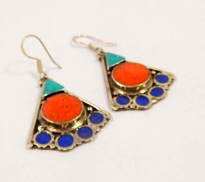 Turquoise , Lapis & Coral .925 Silver Plated Handmade Earring Jewelry JC6604