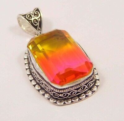 Multi Tourmaline Quartz .925 Silver Plated Carving Pendant Jewelry JC6652