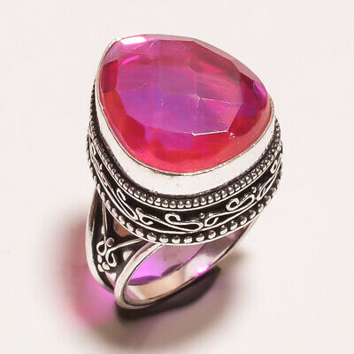Mystic Topaz Quartz .925 Silver Plated Carving Ring Size-7.50 Jewelry JA633