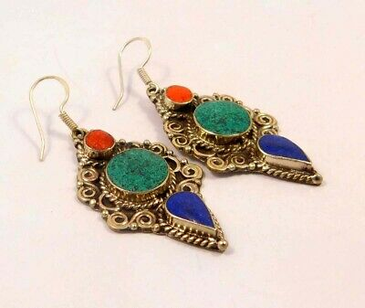 Turquoise , Lapis & Coral .925 Silver Plated Handmade Earring Jewelry JC6618