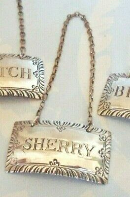 Vintage Stieff Sterling Silver Williamsburg -SHERRY - Liquor Decanter Tag Label