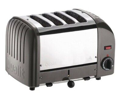 Dualit Classic Vario Four Slot Toaster 4 Slice Charcoal Grey Stainless Finish