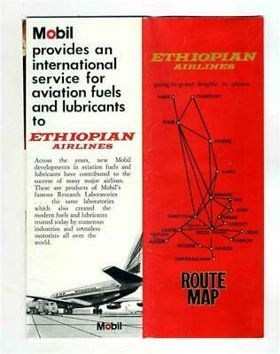 ETHIOPIAN AIRLINES Vintage Graphic Advertising Route Map