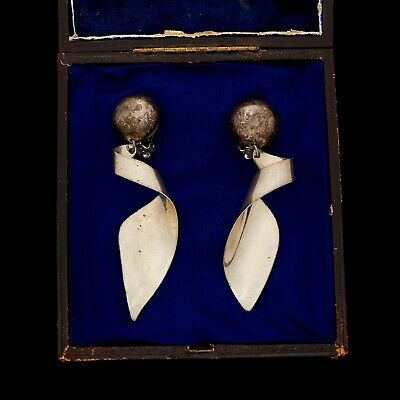 Antique Vintage Deco Mid Century Sterling Silver Modernist Mexico TAXCO Earrings