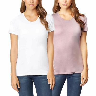 32 DEGREES Cool Women 2pk Short Sleeve Scoop Neck, White/Blush,Large. Pre-Owned