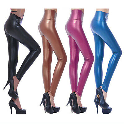 Womens Leggings Wet Look Shiny Artificial Leather High Elastic Skinny Pants Hot