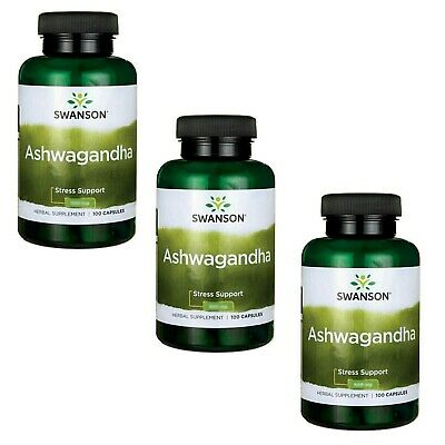 Swanson Ashwagandha 3 x 100 Capsules (900mg per Serving) Stress & Fatigue Relief
