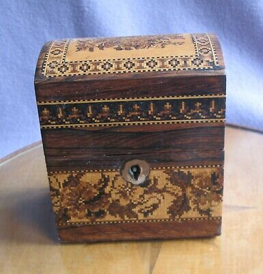 Victorian Rosewood Tunbrige Ware Micro Mosaic Domed Top Box