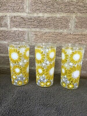 Vintage LIBBEY CLEAR Glass 16oz. SUNFLOWER Drinking Glasses VERY RARE PATTERN!