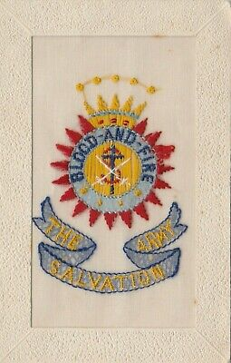 Postcard The Salvation Army Blood And Fire Silk Postcard 1917