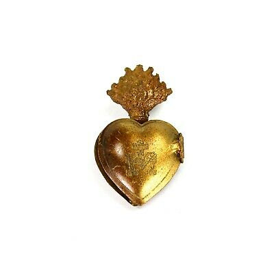 TINY Sacred Heart Ex Voto Milagro Antique Gold Burning Heart Santos Saint Locket