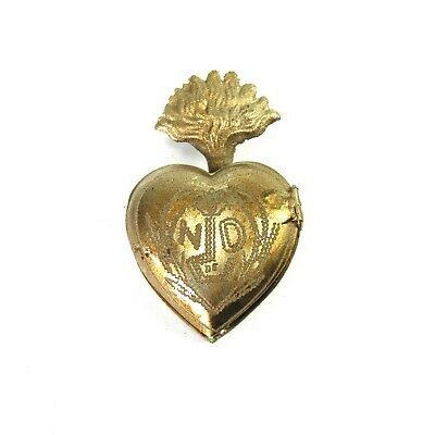 Small Sacred Heart Ex Voto Milagro Antique Silver Burning Heart Santos Locket