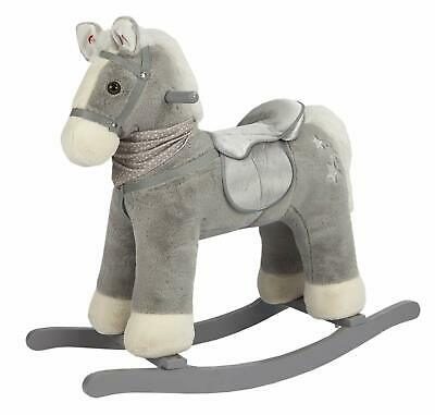 Rock My Baby Rocking Horse Gray,Ride on Pony with Horse Sound,Wooden Rocking Toy